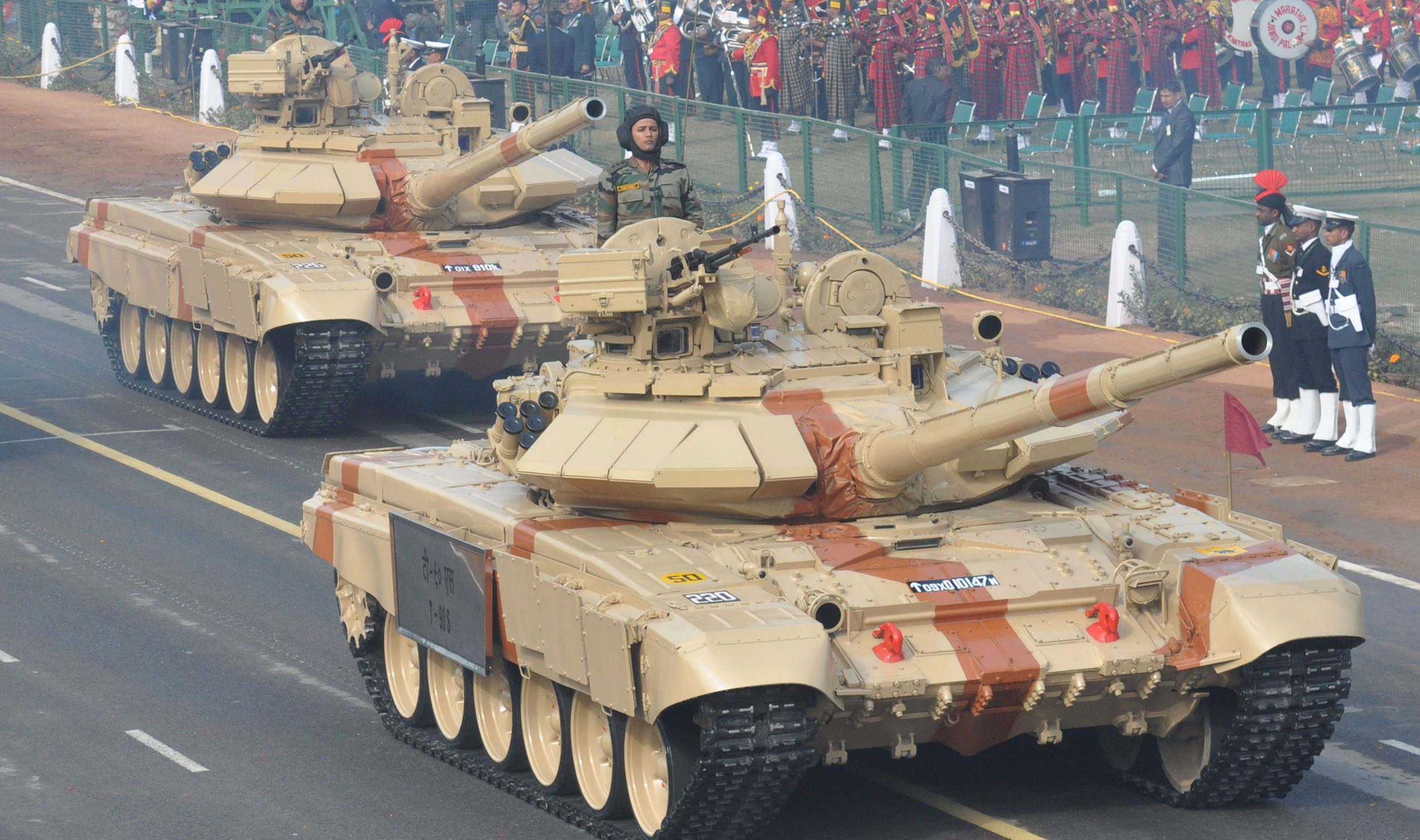 Army tanks T-90 roll during the final full dress rehearsal for the  Republic Day parade in New Delhi on Sunday. India will celebrate its 62nd Republic Day on January 26 with a large military parade.Tribune Photo.mukesh Aggarwal